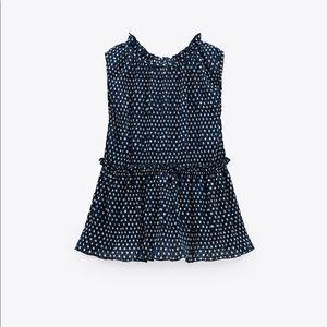 Zara polka dot print top navy NWT med